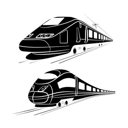 high speed railway: monochrome silhouette of the high-speed passenger train