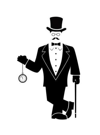 cartoon gentleman with hours in a hand Vector