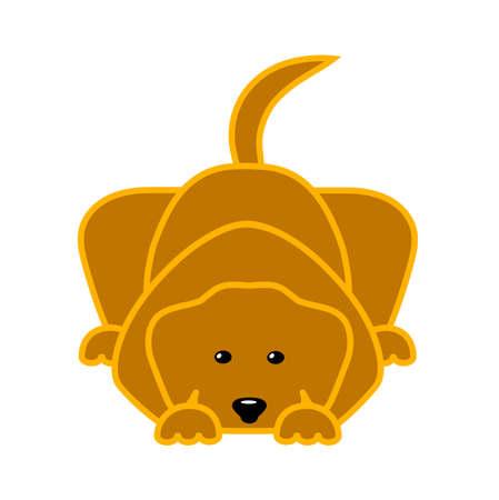 sit back: drawing of a lying dog in flat style