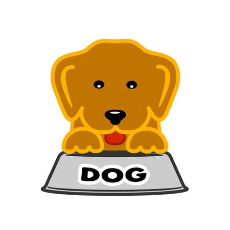 forage: puppy near bowl of dog food symbol Illustration