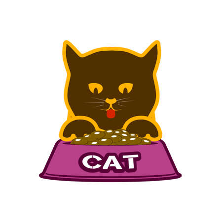 kitten with a forage bowl a food symbol for pets Vector