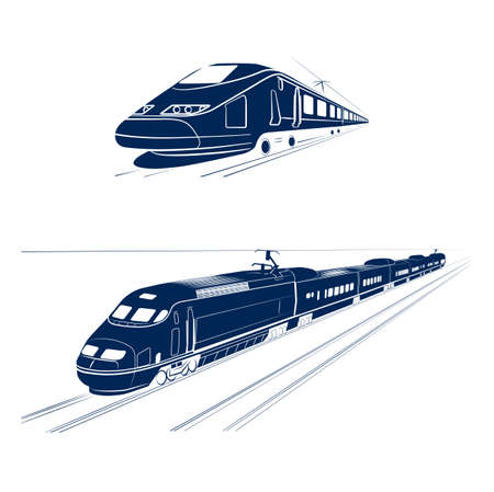 silhouette of the high-speed passenger train Ilustracja
