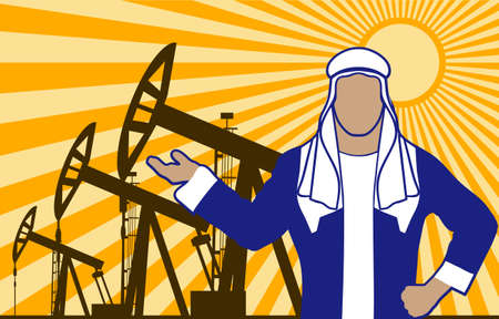 wells: Arab sheikh against oil wells is presented