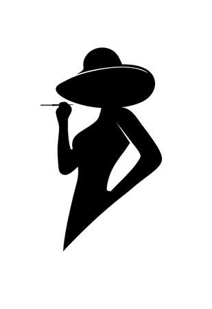 glamorous woman: silhouette of the glamorous lady
