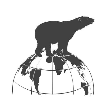 endangered species: silhouette a polar bear goes on the globe