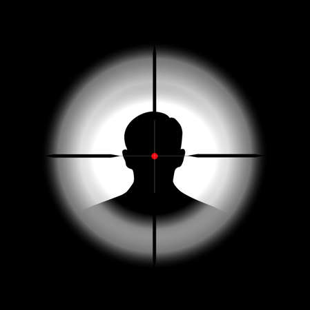 silhouette of the person in a gun sight