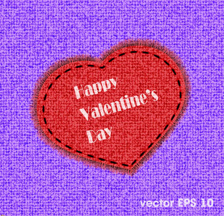 sewed: St. Valentine Day heart from fabric is sewed on a color background