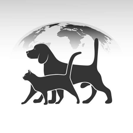 pets silhouettes against the backdrop of the planet Vector