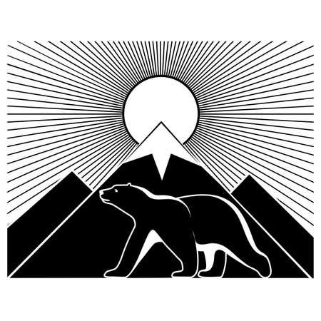 floe: Polar landscape panorama monochrome Illustration