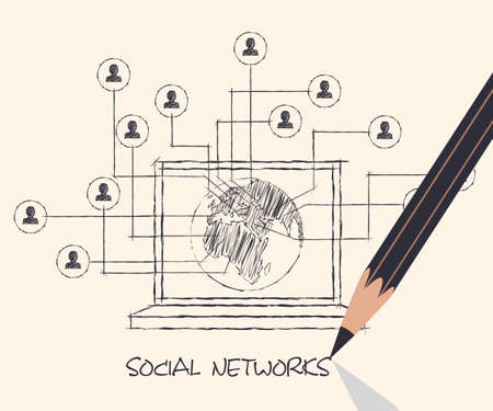 drawing pencil scheme of  social networks communication people Internet Vector