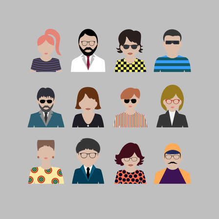 colored icons people Vector