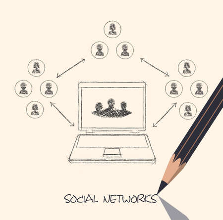 computer networking: drawing pencil scheme of  social networks communication people Internet