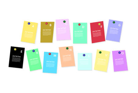 paper pin: colored sheets of paper on white background with place for your text