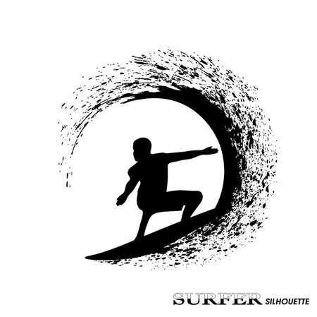 silueta de la persona que practica surf