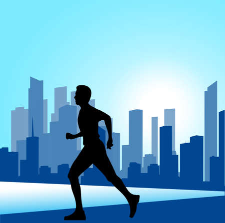 sprinter: running man against the city. silhouette of the sprinter