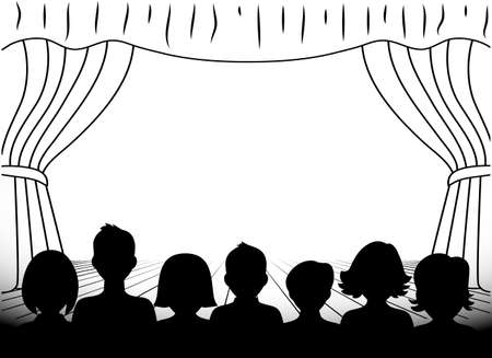 theater audience: theatrical scene silhouettes of people monochrome