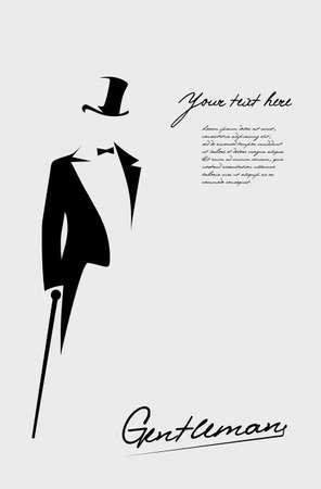 silhouette of a gentleman in a tuxedo Vector