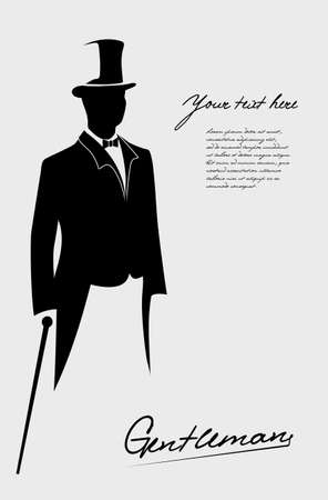 top black hat: silhouette of a gentleman in a tuxedo