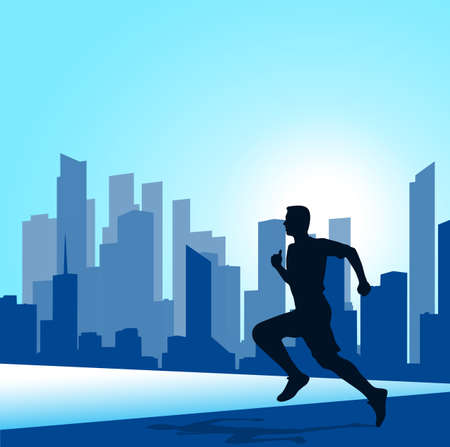 sport background: running man against the city. silhouette of the sprinter