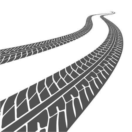 rodamiento: Silueta de rodadura del coche en un fondo blanco