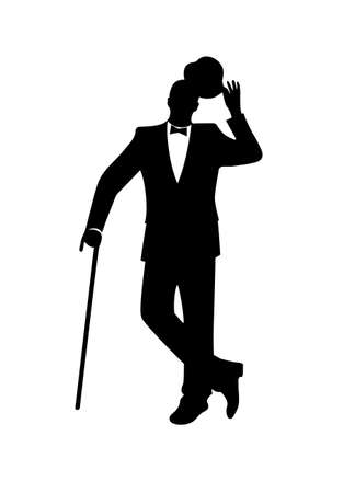 black male: silhouette of a gentleman in a tuxedo