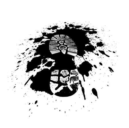 Chaussures impression dans une piscine dans le style grunge Banque d'images - 35371931