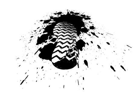 schoeisel print in een zwembad in de stijl grunge Stock Illustratie