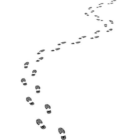 isolation white: print footwear trace Illustration