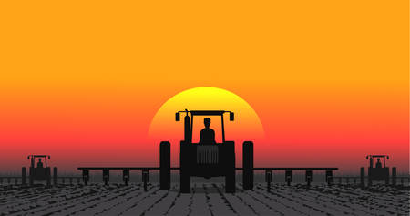 farmed: tractor processes the earth a rural landscape Illustration