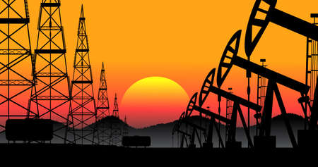 oilwell: industrial background oil production vector Illustration