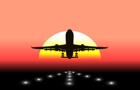 aircraft aeroplane: silhouette of an airplane taking off in background the sun