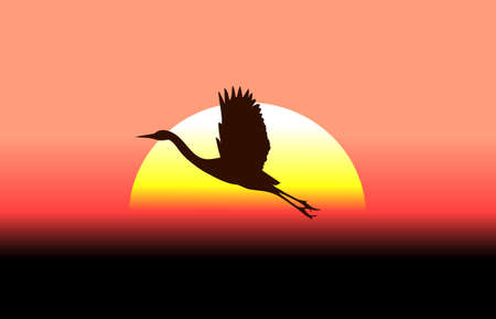 migrate: flying stork on a background of a sunset