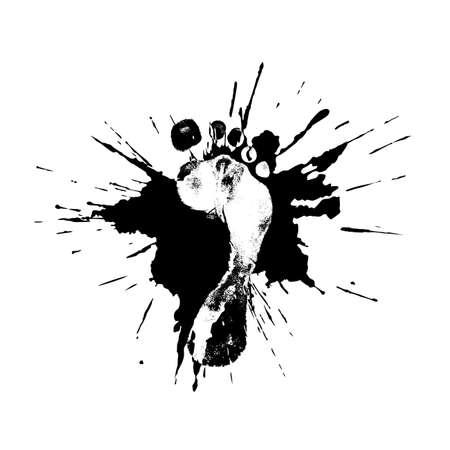 huella pie: impresión del pie en una piscina en el estilo grunge