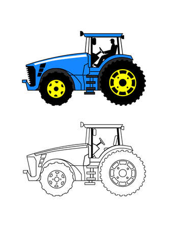 summer tires: tractor on a white background