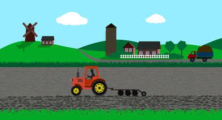 tillage: paisaje rural Vectores