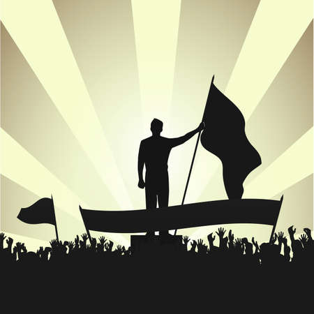 searchlights: person with a flag among active public against searchlights Illustration