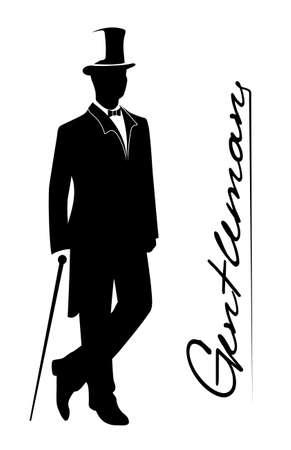bocetos de personas: silueta de un caballero con un esmoquin Vectores