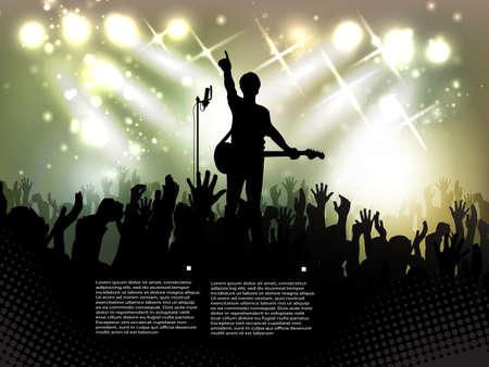 night club: crowd of people, silhouettes in night club