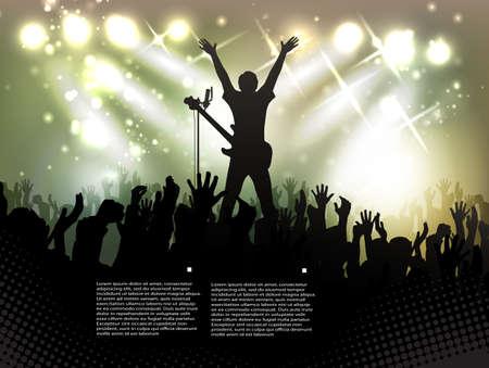 concierto de rock: Multitud de personas, siluetas en club nocturno