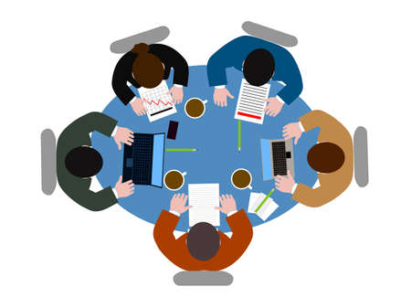people  at  table the top view Vector