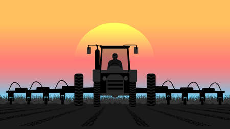hauling tractor: tractor processes the earth a rural landscape Illustration