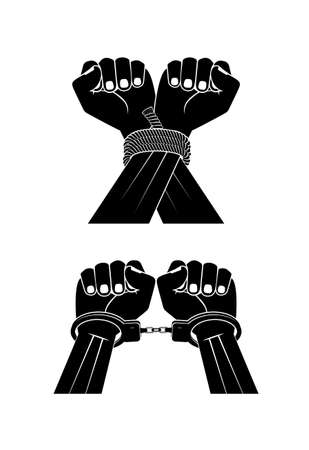 hands in handcuffs on a white background Vector