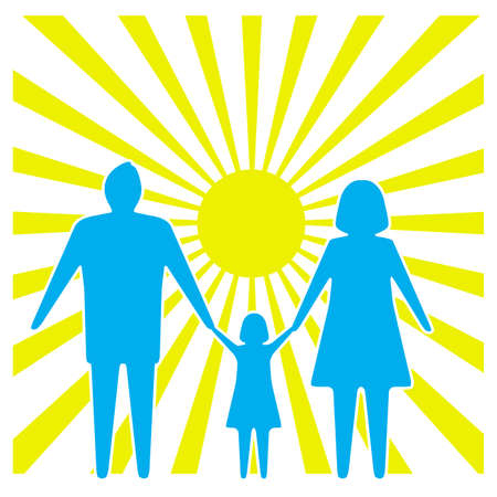 little child: icon a family against the sun Illustration