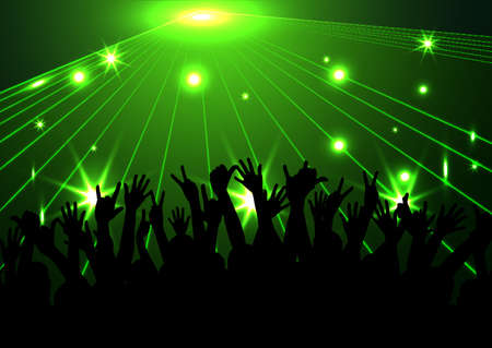 Evening in night club. people against color illumination Illustration
