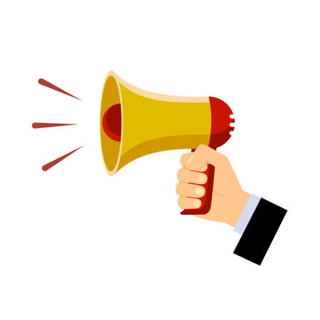 megaphone in hand on a white background