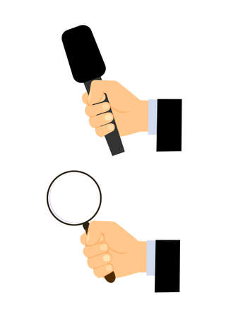 interviewer: microphone a magnifying glass magnifying in a hand on a white background Illustration