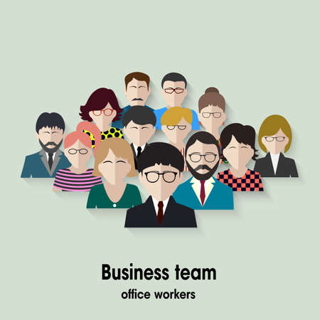 business office: business team. group of office workers.