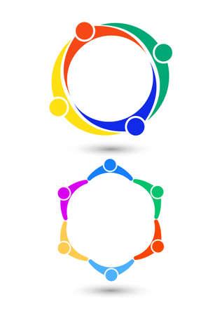 looped shape: Business Team Social network . Teamwork iconVector. Illustration