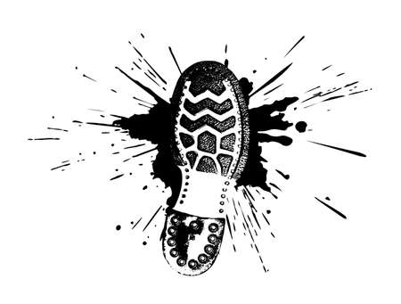 footwear print in a pool in style grunge