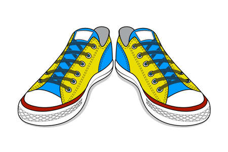 drawing of sports shoes. youth easy footwear Stok Fotoğraf - 37936105